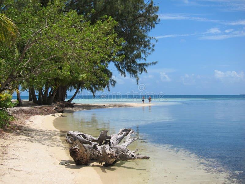 Playa en el agua del sur Caye imagenes de archivo