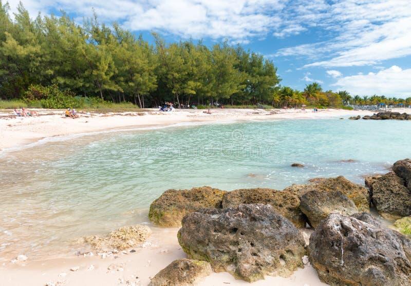 Playa en el fuerte Zachary Taylor Historic State Park en Key West, la Florida fotografía de archivo libre de regalías