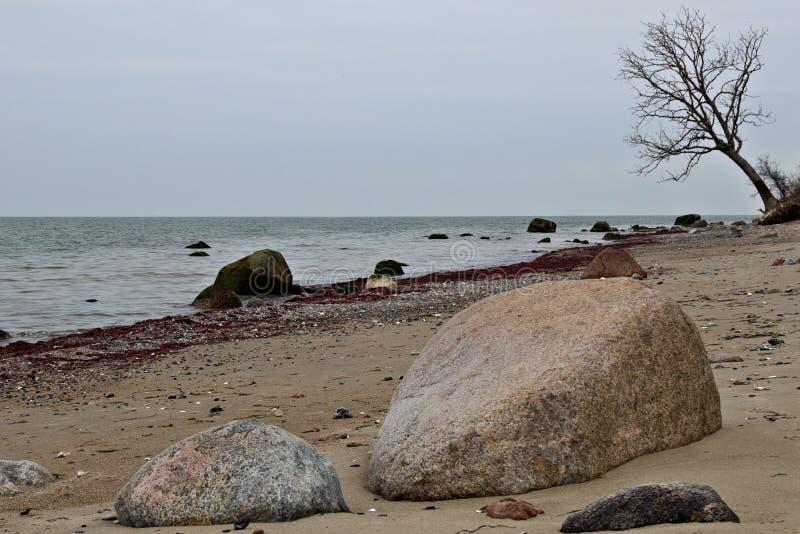 Playa en el mar Báltico cerca de la cuba de tintura del ¼ de LÃ foto de archivo