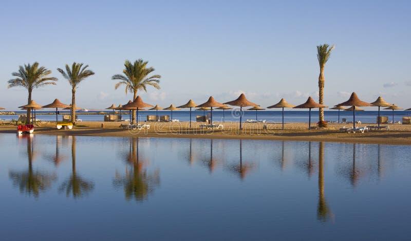 Playa en el Mar Rojo, Hurghada, Egipto imagenes de archivo