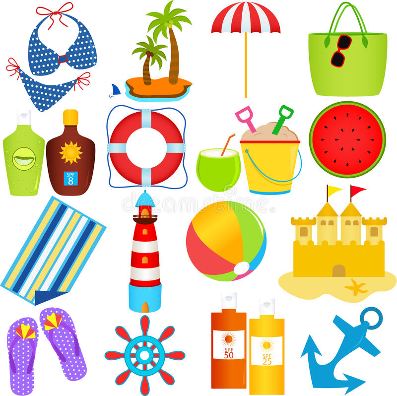 Playa en el tema del verano stock de ilustración