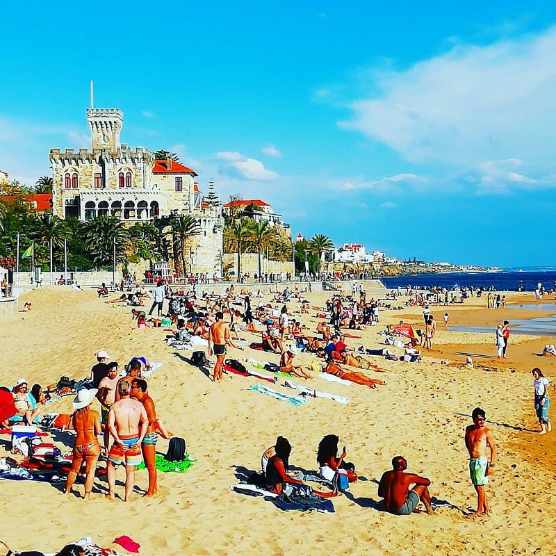 Playa en Estoril Portugal foto de archivo