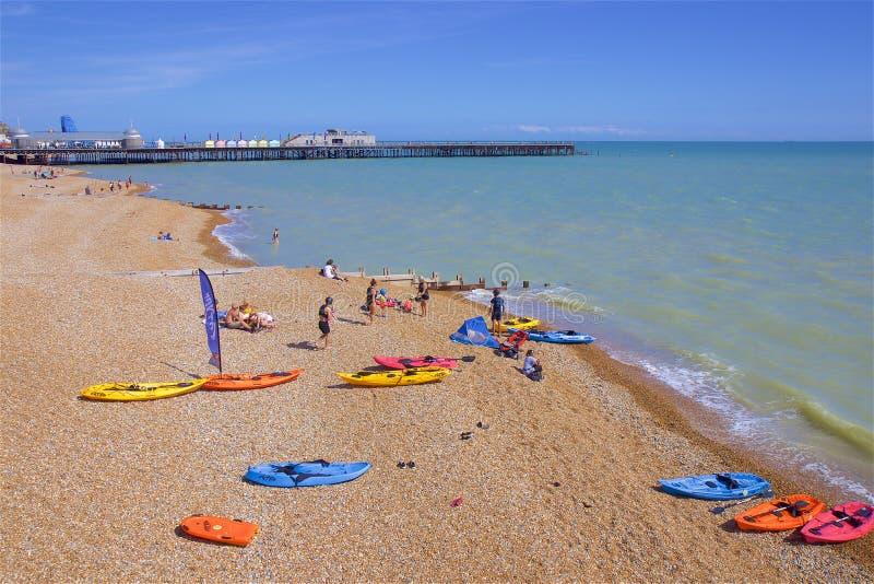 Playa en Hastings, Reino Unido imágenes de archivo libres de regalías