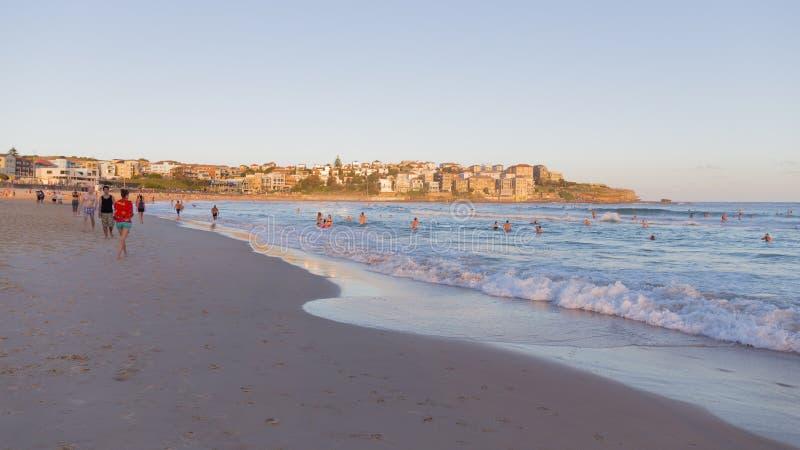 Playa en la puesta del sol, Sydney de la ciudad fotos de archivo