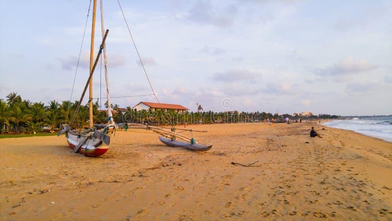 Playa en Negombo, Sri Lanka imágenes de archivo libres de regalías