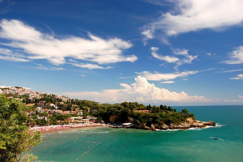 Playa en Ulcinj, Montenegro foto de archivo libre de regalías