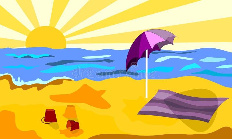 Playa en un día soleado libre illustration