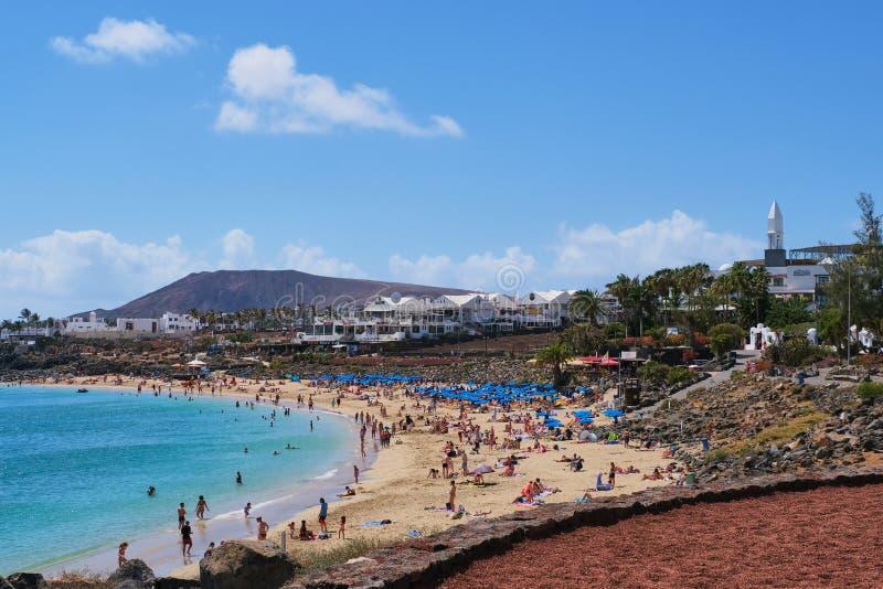 playa f?r strandblanca lanzarote arkivbilder
