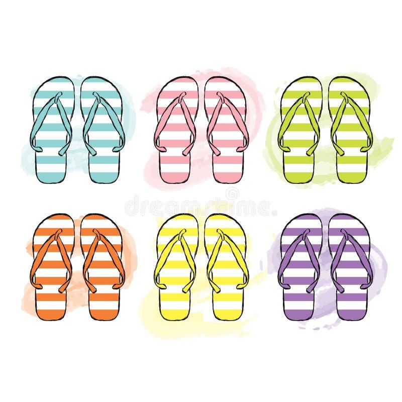 Playa Flip Flops en diversos colores Ilustración del vector Impresión en la ropa, el bolso o la tarjeta Moda y estilo Zapatos del stock de ilustración