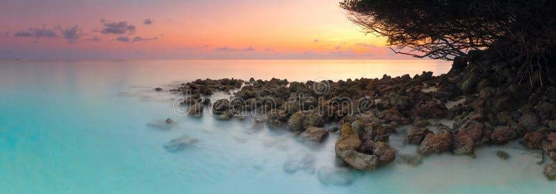 Playa hermosa con las palmeras y el cielo cambiante Concepto del fondo del día de fiesta del viaje de las vacaciones de verano Pl imagen de archivo