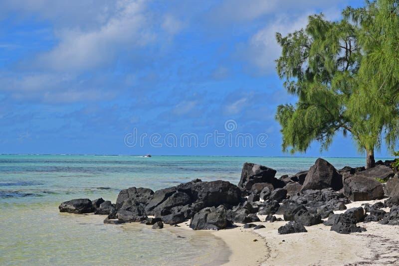 Playa hermosa con las rocas negras en Ile Cerfs aux. Mauricio fotografía de archivo