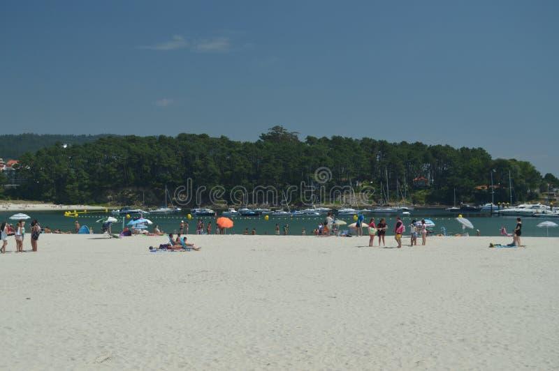 Playa hermosa de Silgar en Sanxenxo foto de archivo