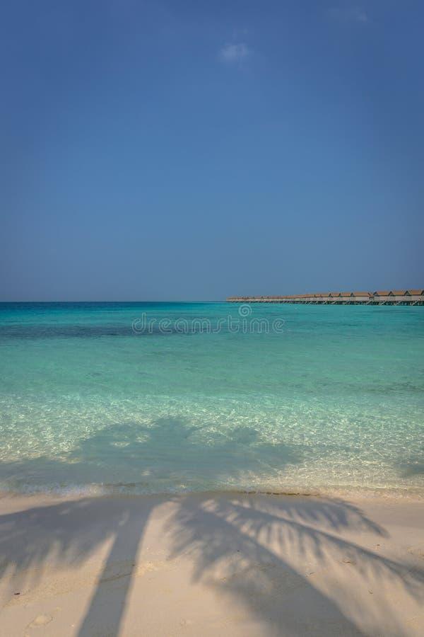 Playa hermosa del agua azul en un paraíso tropical, con las casas de planta baja en el fondo en Maldivas fotografía de archivo
