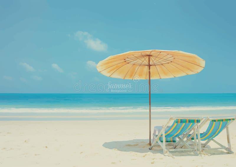 Playa hermosa del verano con las sillas y el paraguas de playa ilustración del vector