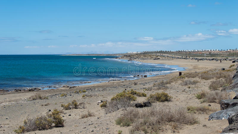 Playa Honda. Is one of the best beach in Lanzarote. It`s run along the international airport and near Arrecife. Lanzarote, Canary Island, Spain stock photos