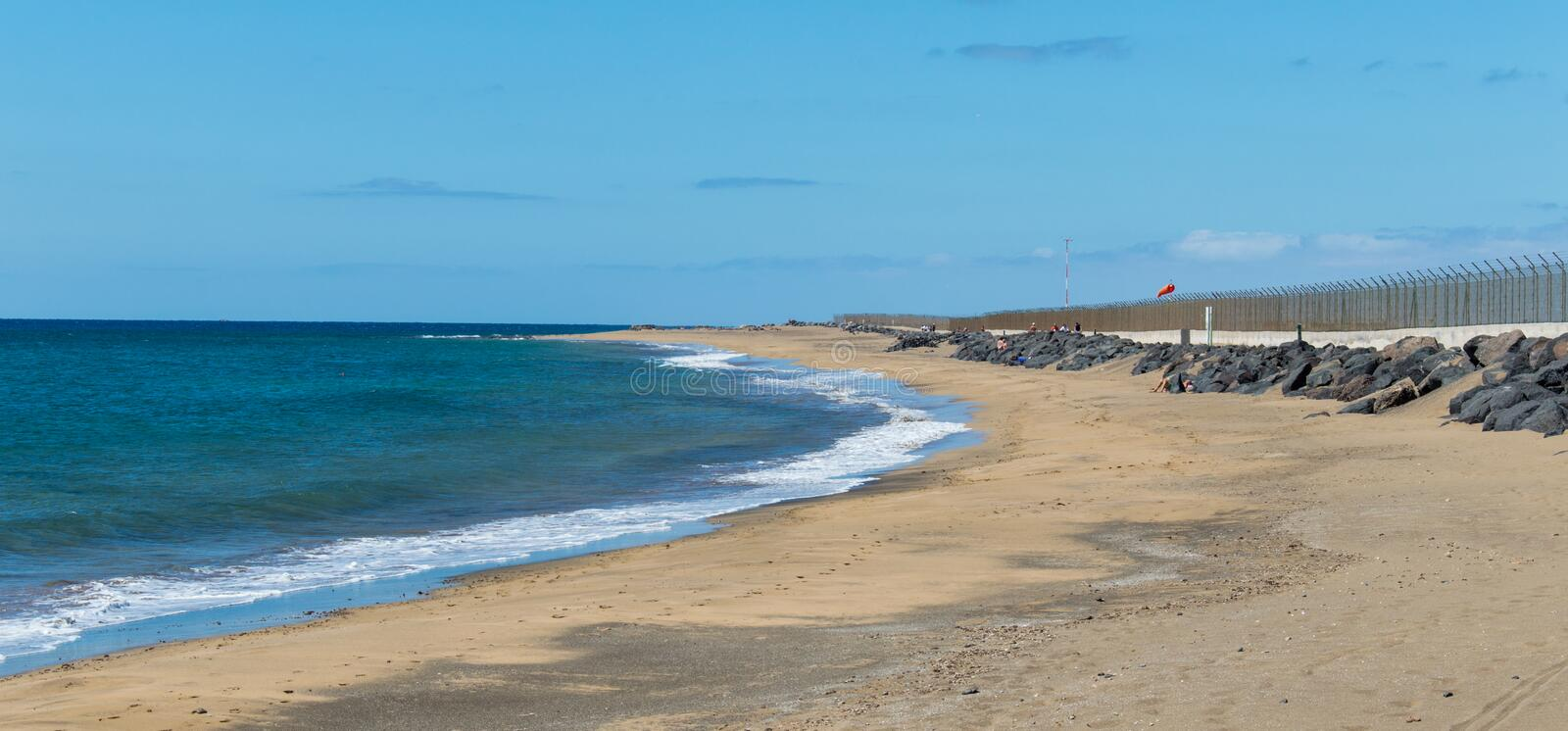 Playa Honda. Is one of the best beach in Lanzarote. It`s run along the international airport and near Arrecife. Lanzarote, Canary Island, Spain royalty free stock photography