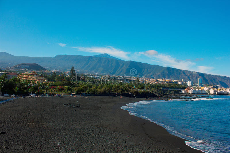 Playa Jardin, Puerto Cruz, Tenerife, Spain fotografia de stock