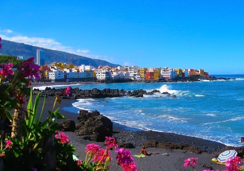 Playa Jardin, Puerto de la Cruz, isola di Tenerife, Spagna fotografia stock