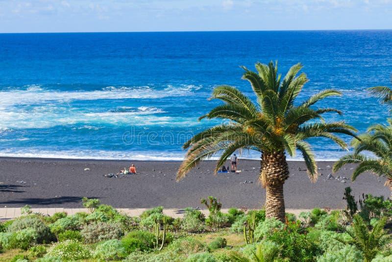 Playa Jardin, Puerto de la Cruz, Spagna fotografie stock