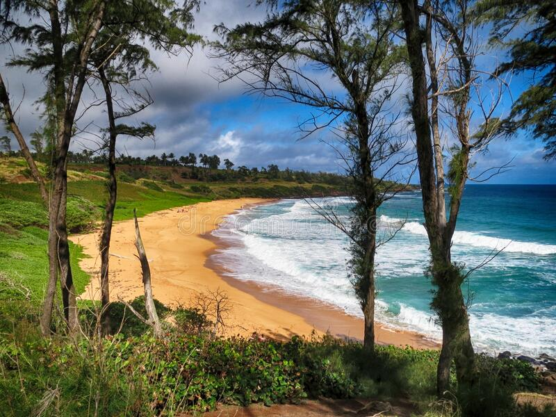 Playa Kapaa Kauai fotos de archivo