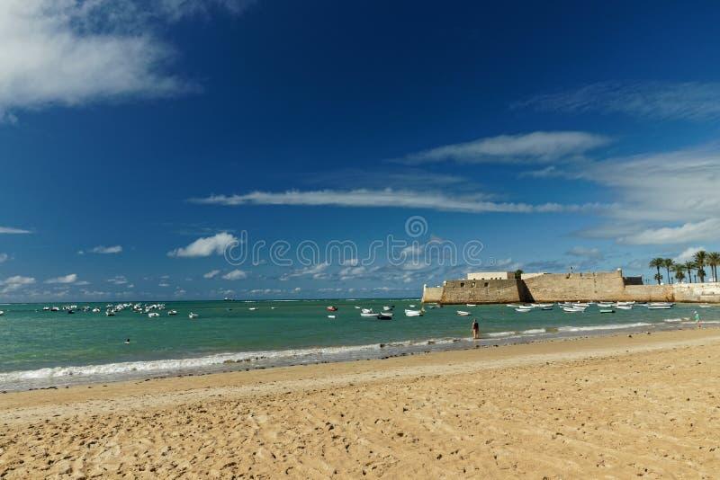 Playa la Caleta beach in Cadiz royalty free stock image