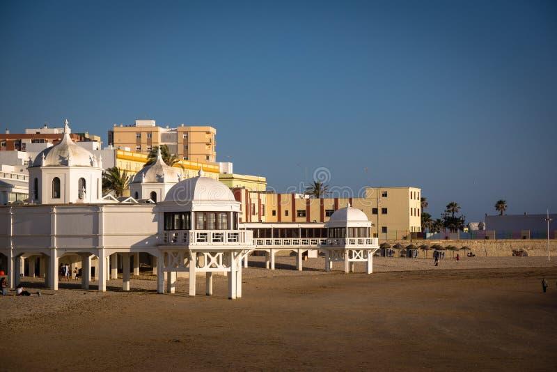 Playa-La Caleta in Cadiz Andalusien stockbilder