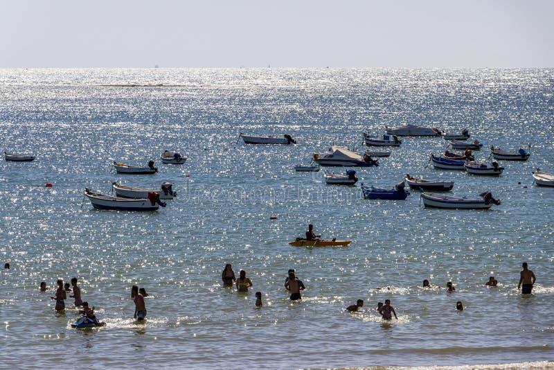 Playa-La Caleta oder La Caleta-Strand, Cadiz, Spanien stockfotografie