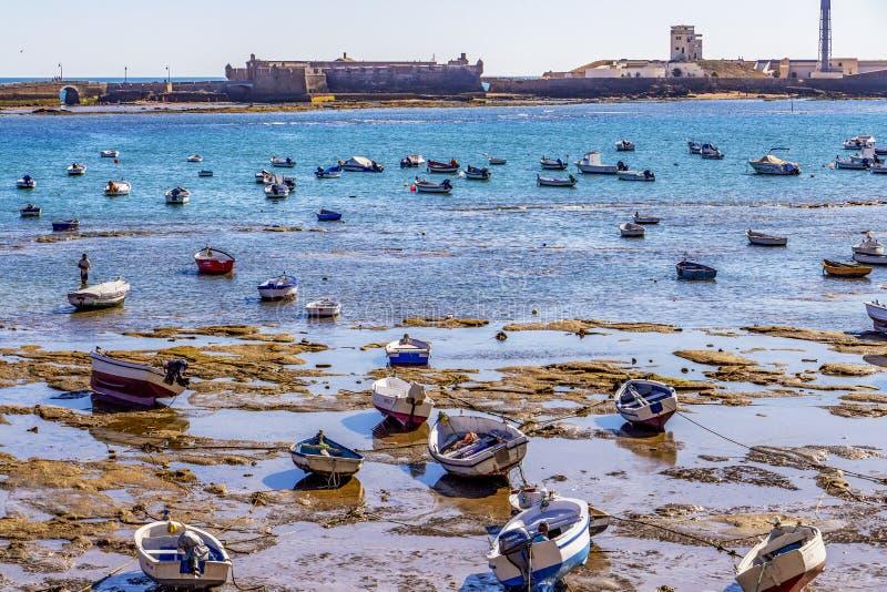 Playa-La Caleta oder La Caleta-Strand, Cadiz, Spanien stockbilder