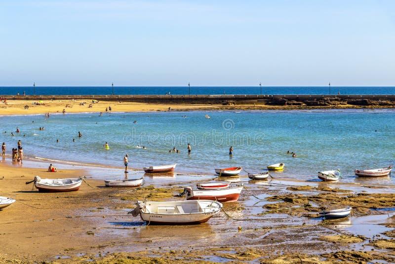 Playa-La Caleta oder La Caleta-Strand, Cadiz, Spanien lizenzfreie stockfotos