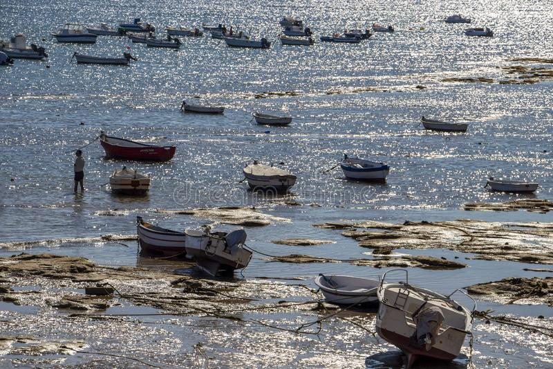 Playa-La Caleta oder La Caleta-Strand, Cadiz, Spanien lizenzfreie stockfotografie