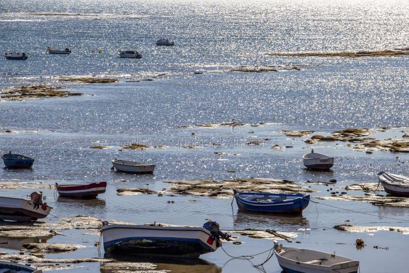 Playa-La Caleta oder La Caleta-Strand, Cadiz, Spanien stockbild