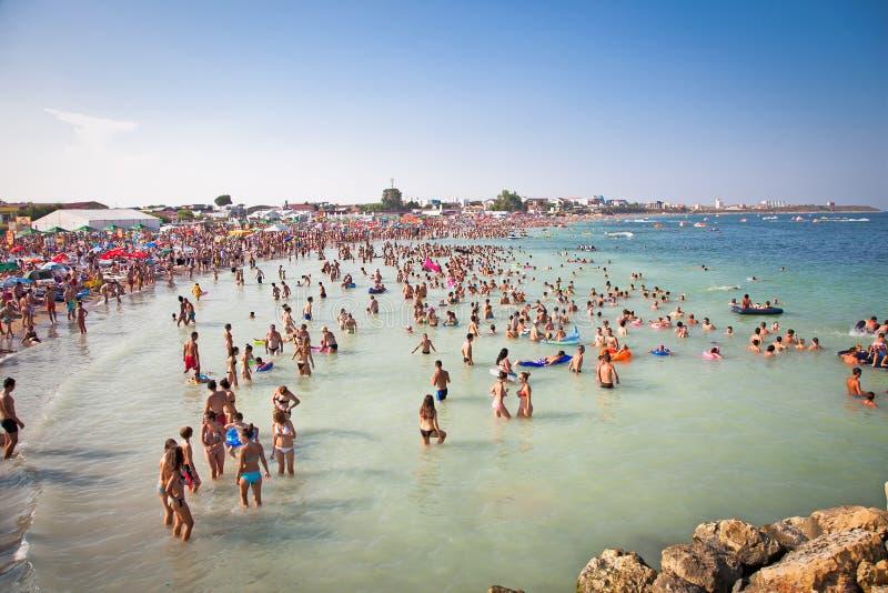 Playa larga hermosa de la arena en Costinesti, Constanta, Rumania foto de archivo libre de regalías