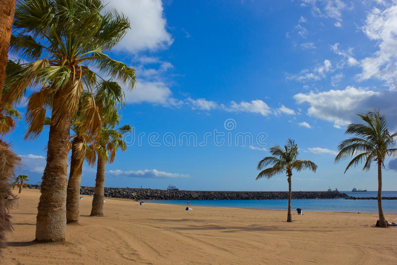 Playa las Teresitas, Tenerife, Spain. Beach with yellow sand - playa las Teresitas, Tenerife, Spain royalty free stock images