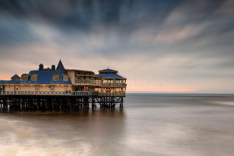 Playa Makaha in Lima, Peru, and pier restaurant stock image