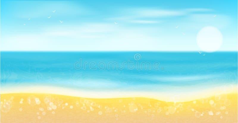 Playa, mar, arena y sol Fondo del verano stock de ilustración