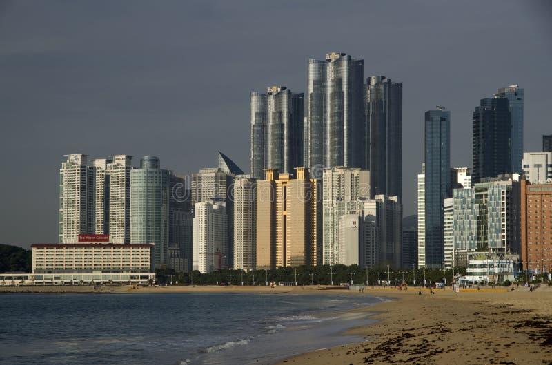 Playa moderna Busán Corea de Haeundae de la arquitectura imagenes de archivo