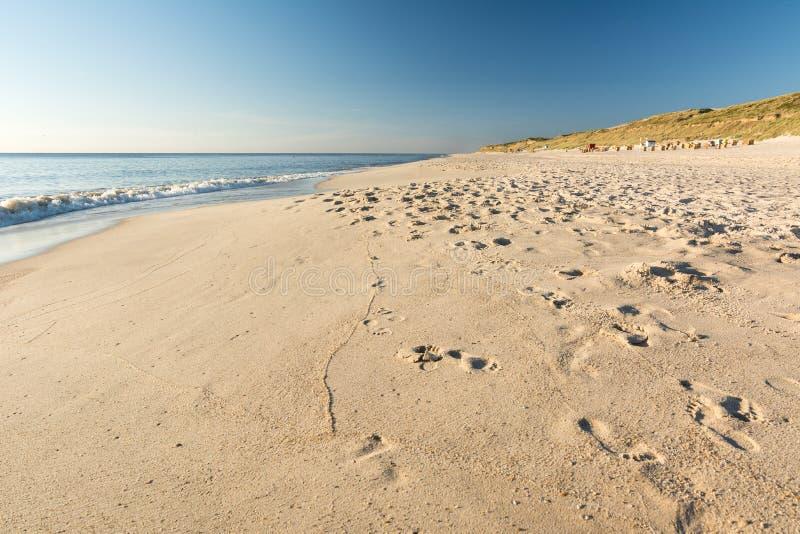 Playa, océano y dunas escénicos en el sol de igualación fotos de archivo
