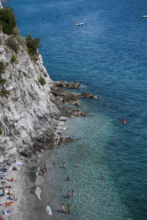 Playa particular, península de Amalfi fotografía de archivo libre de regalías