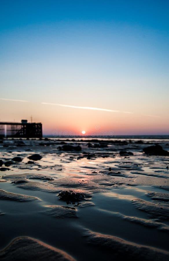 Playa Pier Sun Rise de Penarth foto de archivo