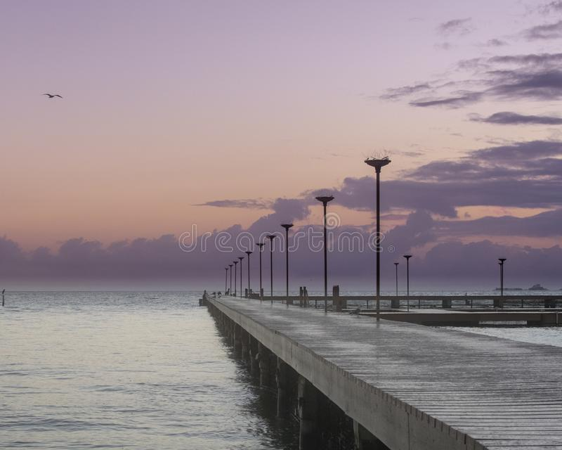 Playa Pier at Sunrise in Mexico royalty free stock photo