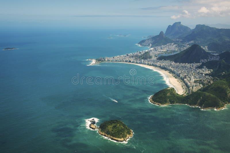Playa Rio de Janeiro Brazil Aerial View de Copacabana foto de archivo libre de regalías