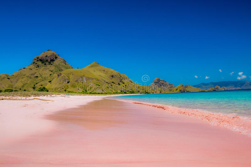 Playa rosada imagenes de archivo
