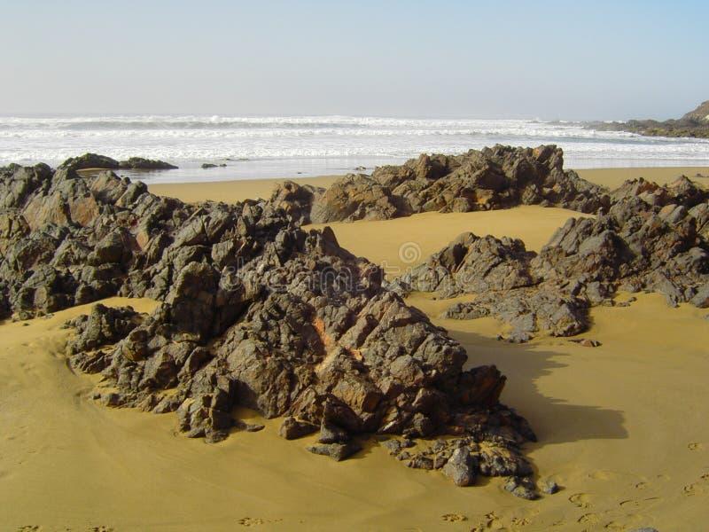 Playa salvajeentre Agadir y Sidi Ifni ( Marruecos) arkivbild