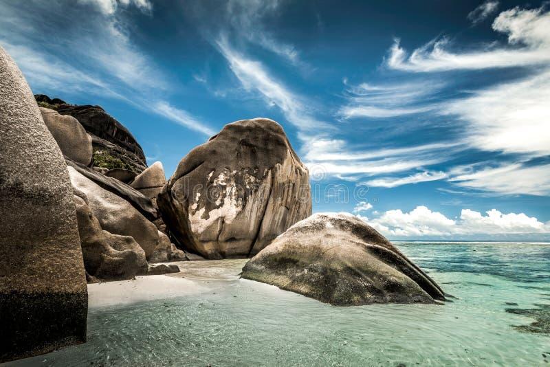 Playa Seychelles de Praslin fotografía de archivo