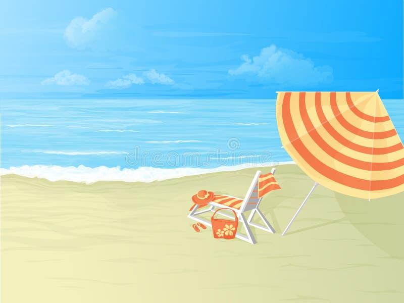 Playa, silla de cubierta y paraguas tropicales libre illustration