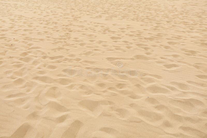 Playa suave de la arena con muchas huellas de desaparición foto de archivo