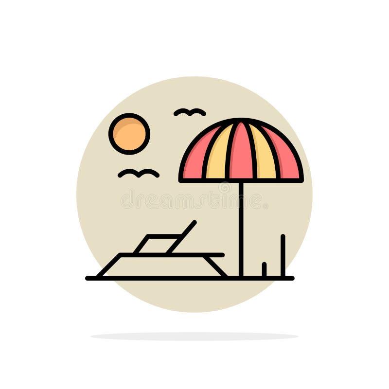 Playa, Sunbed, icono plano del color de fondo del círculo del extracto de las vacaciones libre illustration