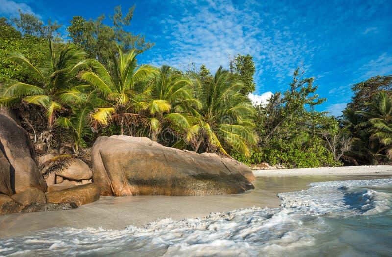 Playa tropical Anse Lazio, Praslin, Seychelles de la isla fotos de archivo