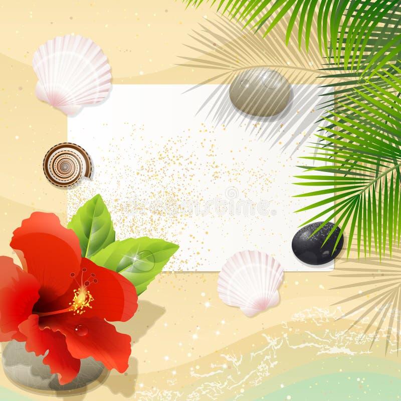 Playa tropical con el hibisco rojo libre illustration