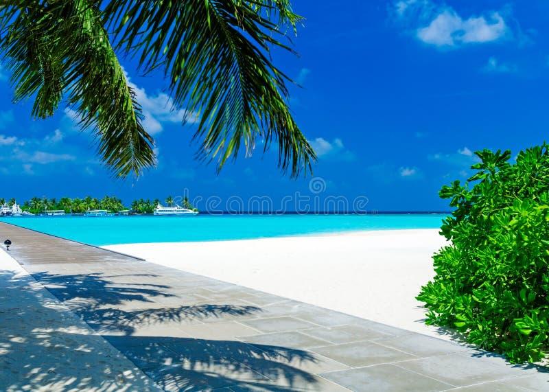 Playa tropical con la isla y los barcos fotografía de archivo